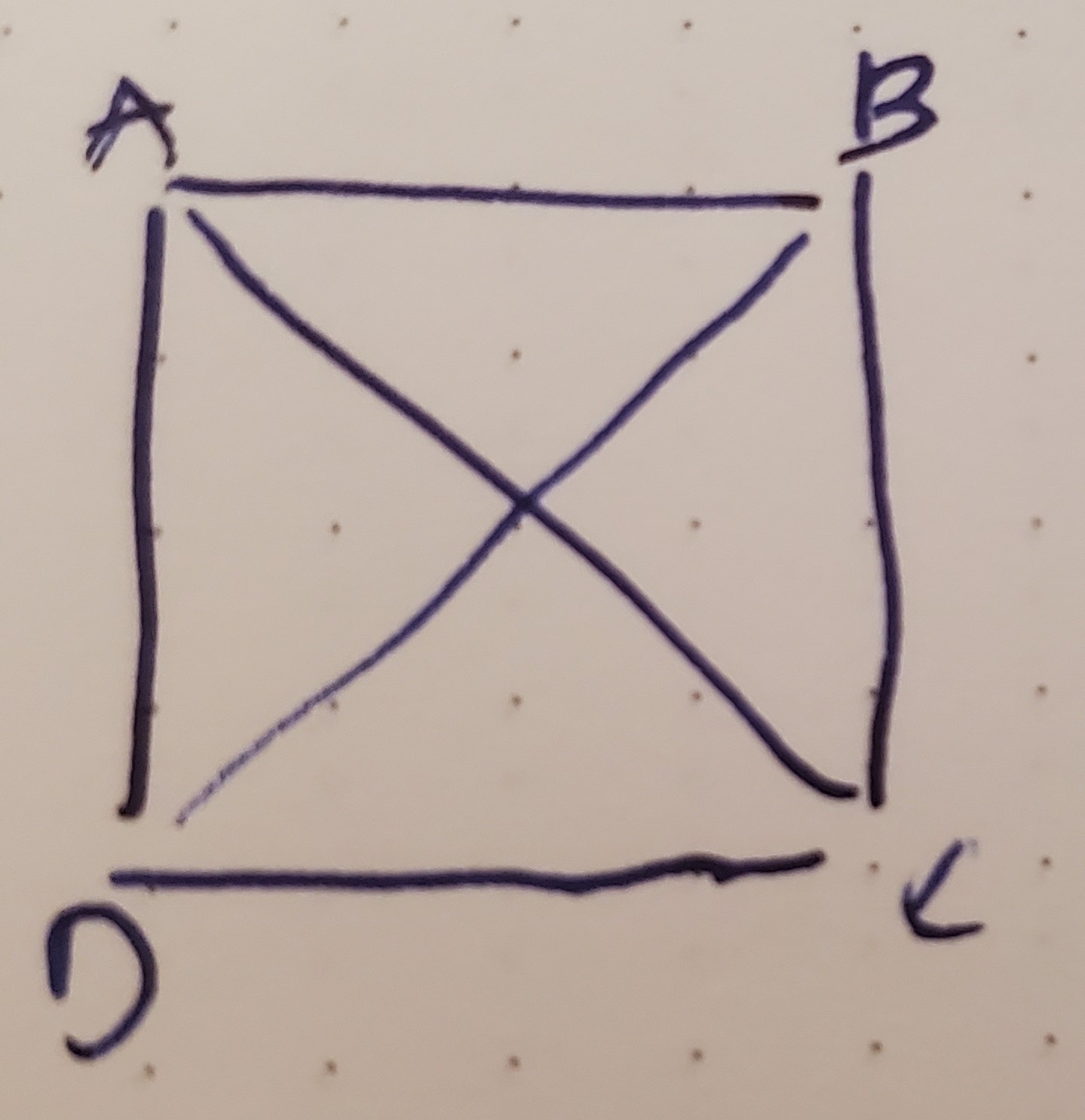 A Square with points A, B, C, and D